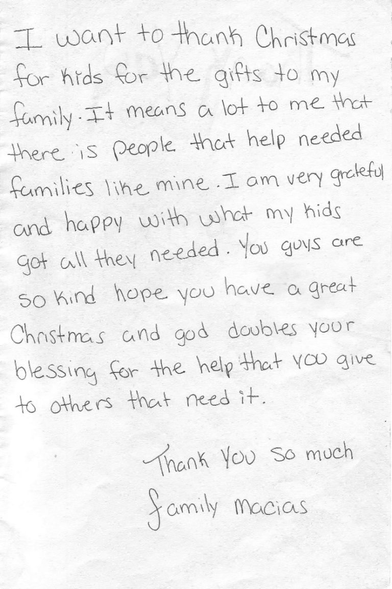 Thank You Letter To Family Member from christmasforkids.org